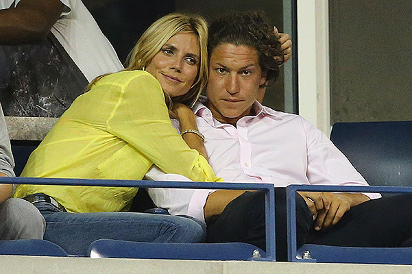 NEW YORK, NY - SEPTEMBER 01:  Vito Schnabel (R) with Heidi Klum on Day Eight of the 2014 US Open at the USTA Billie Jean King National Tennis Center on September 1, 2014 in the Flushing neighborhood of the Queens borough of New York City.  (Photo by Al Bello/Getty Images)