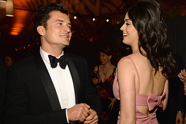 """BEVERLY HILLS, CA - JANUARY 10:  Orlando Bloom and Katy Perry attend The Weinstein Company and Netflix Golden Globe Party, presented with DeLeon Tequila, Laura Mercier, Lindt Chocolate, Marie Claire and Hearts On Fire at The Beverly Hilton Hotel on January 10, 2016 in Beverly Hills, California.  (Photo by Kevin Mazur/Getty Images for The Weinstein Company)"""