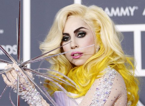Lady Gaga poses on the red carpet at the 52nd annual Grammy Awards in Los Angeles January 31, 2010. REUTERS/Mario Anzuoni (MUSIC-GRAMMYS/ARRIVALS) (UNITED STATES - Tags: ENTERTAINMENT)