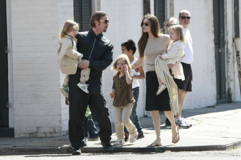03-20-11  New Orleans LA  Brad Pitt and Angelina Jolie take out all 6 of their children to the corner store near their home in New Orleans LA.  Brad held son Knox and Angelina held onto his twin Vivienne as the clan walked to the deli Verti Marte on the corner.  Non-Exclusive Pictures by Rocstar/Katrina/Flynet ©2011 1-818-307-4813 Nicolas 1-310-869-0177 Scott