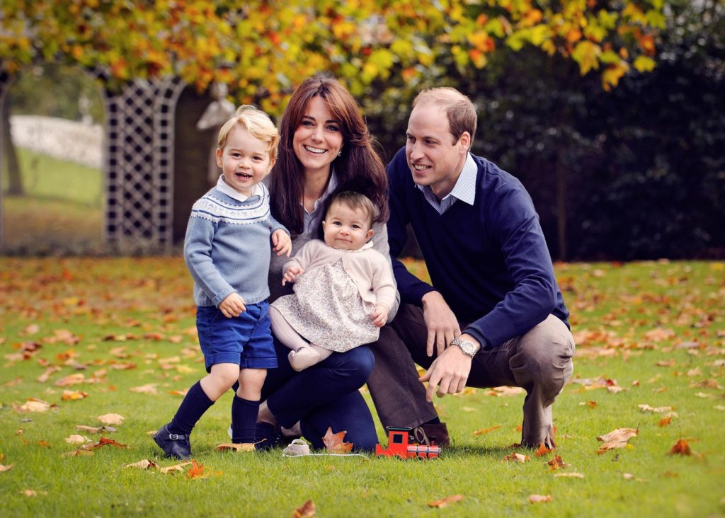 The Duke and Duchess of Cambridge with their two children, Prince George and Princess Charlotte, in a photograph taken late October at Kensington Palace in London.  Friday December 18, 2015. NEWS EDITORIAL USE ONLY. NO COMMERCIAL USE (including any use in merchandising, advertising or any other non-editorial use including, for example, calendars, books and supplements).