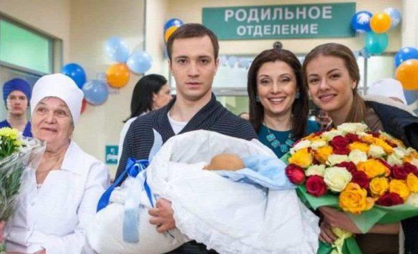 Е.Шириков с женой и новорожденным сыном