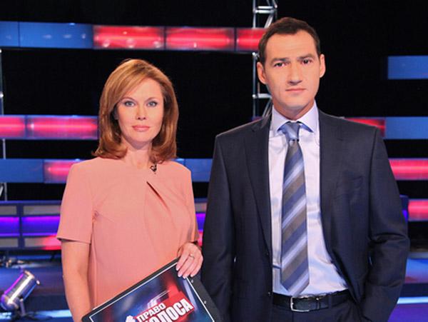 Роман Бабаян со своей соведущей Ольгой Кокоркиной