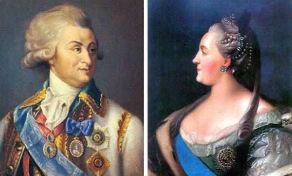 Царица Екатерина II со своим фаворитом Григорием Потемкиным