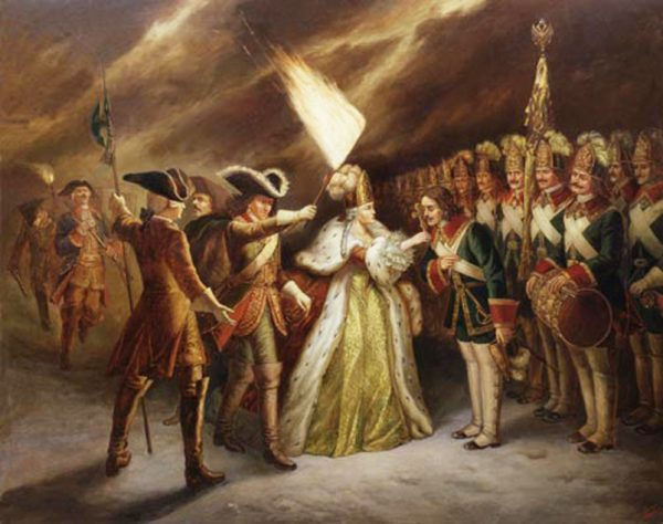 Императрица Елизавета во время дворцового переворота