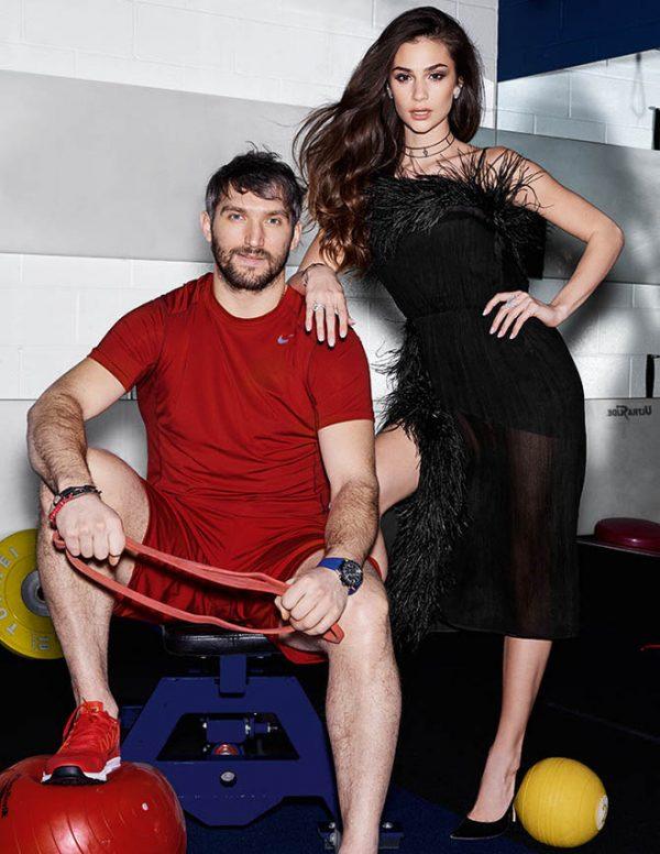 Александр Овечкин с женой на фотосессии