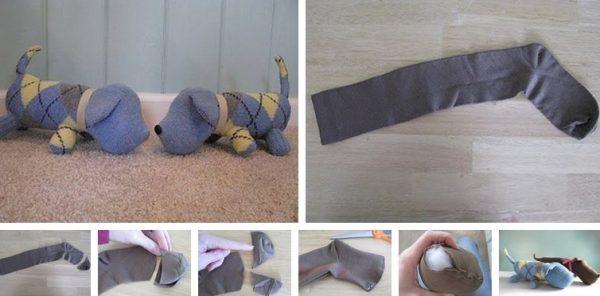 Как сделать собачку из носка