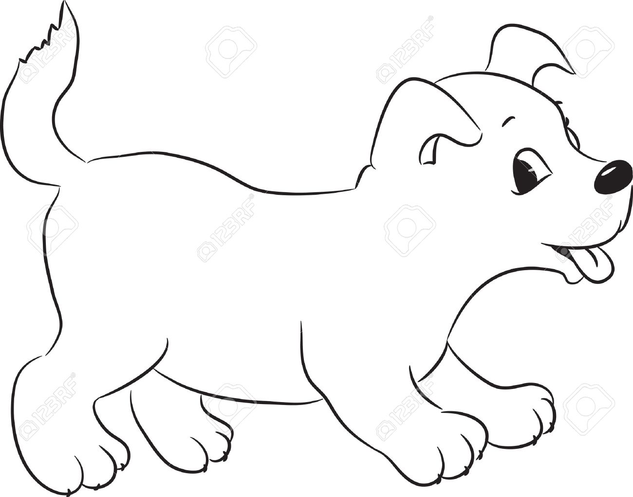 15399142-Outlined-cute-cartoon-dog-Vector-illustration--Stock-Vector-white