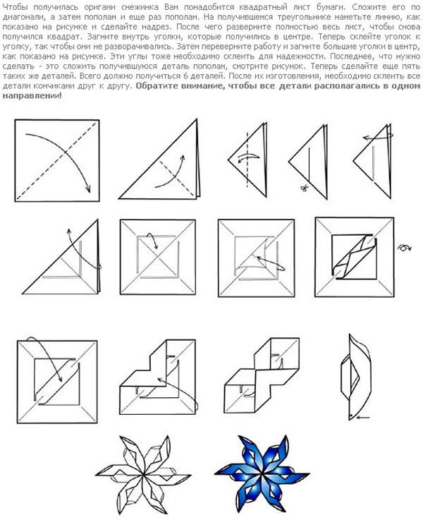 Изготовление снежинки-оригами