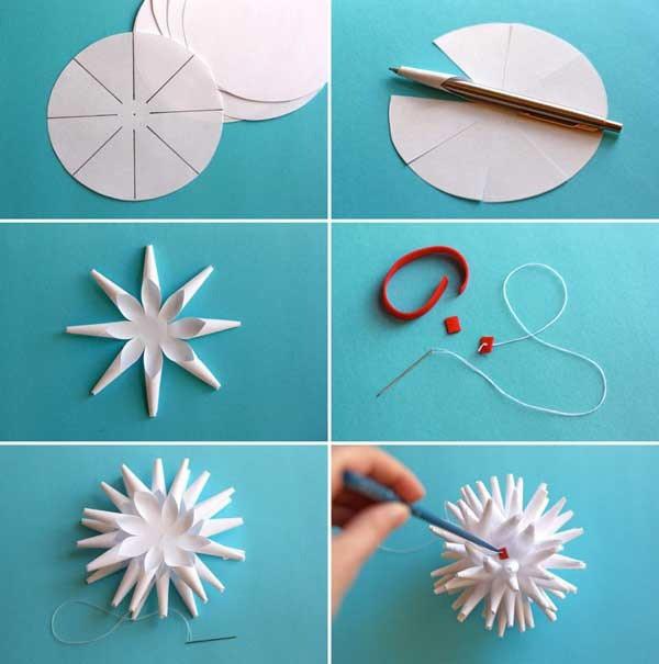 Пошаговая инструкция по выполнению объемных снежинок