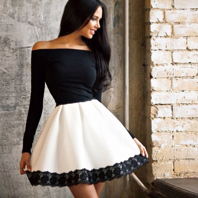 Girl-Vestido-Women-Tutu-Dress-Off-Shoulder-saia-Slim-Bandage-Bodycon-Lace-Mini-Dresses-LH7s