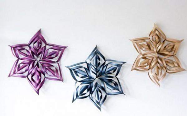 Объемные снежинки из бумаги 3D