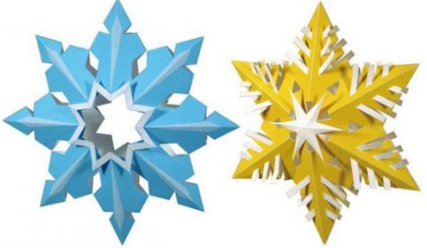 Снежинки оригами двух цветов
