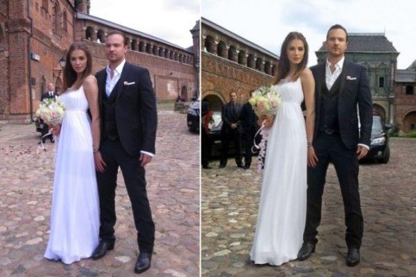 Влюбленные молодые люди во время свадьбы