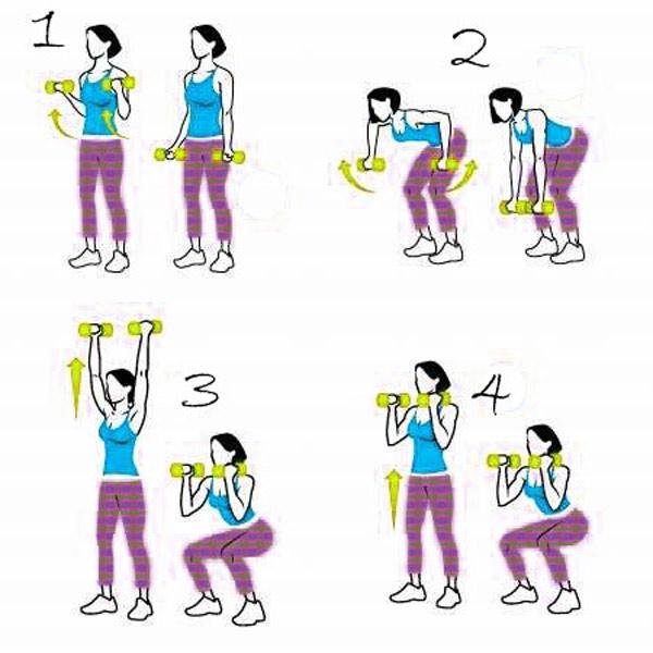 Упражнения для рук с гантелями для женщин дома
