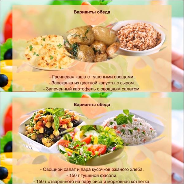 Варианты обедов на неделю похудения