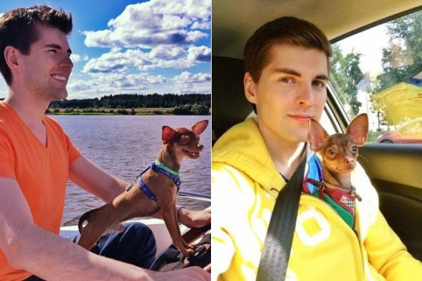 Дмитрий со своей любимой собакой