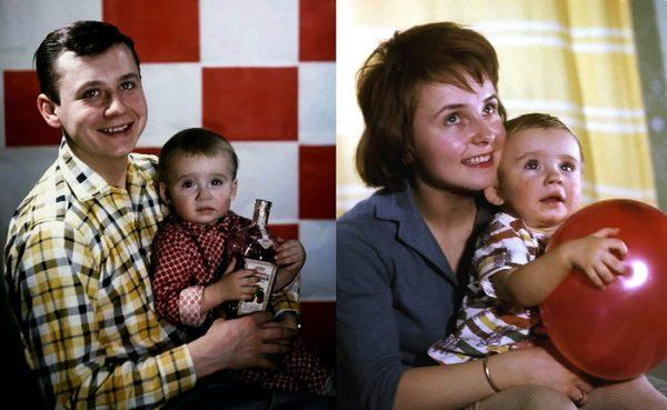 Молодой Олег табаков с первой женой и детьми