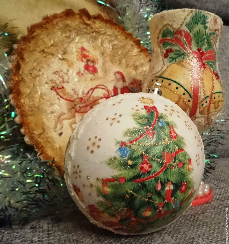 Стильные новогодние подарки в технике декупаж