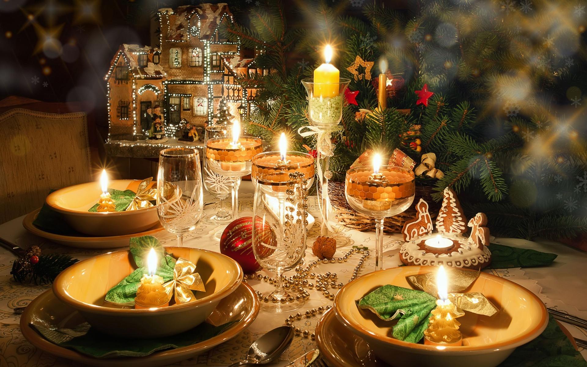 Вариант сервировки новогоднего стола 2018