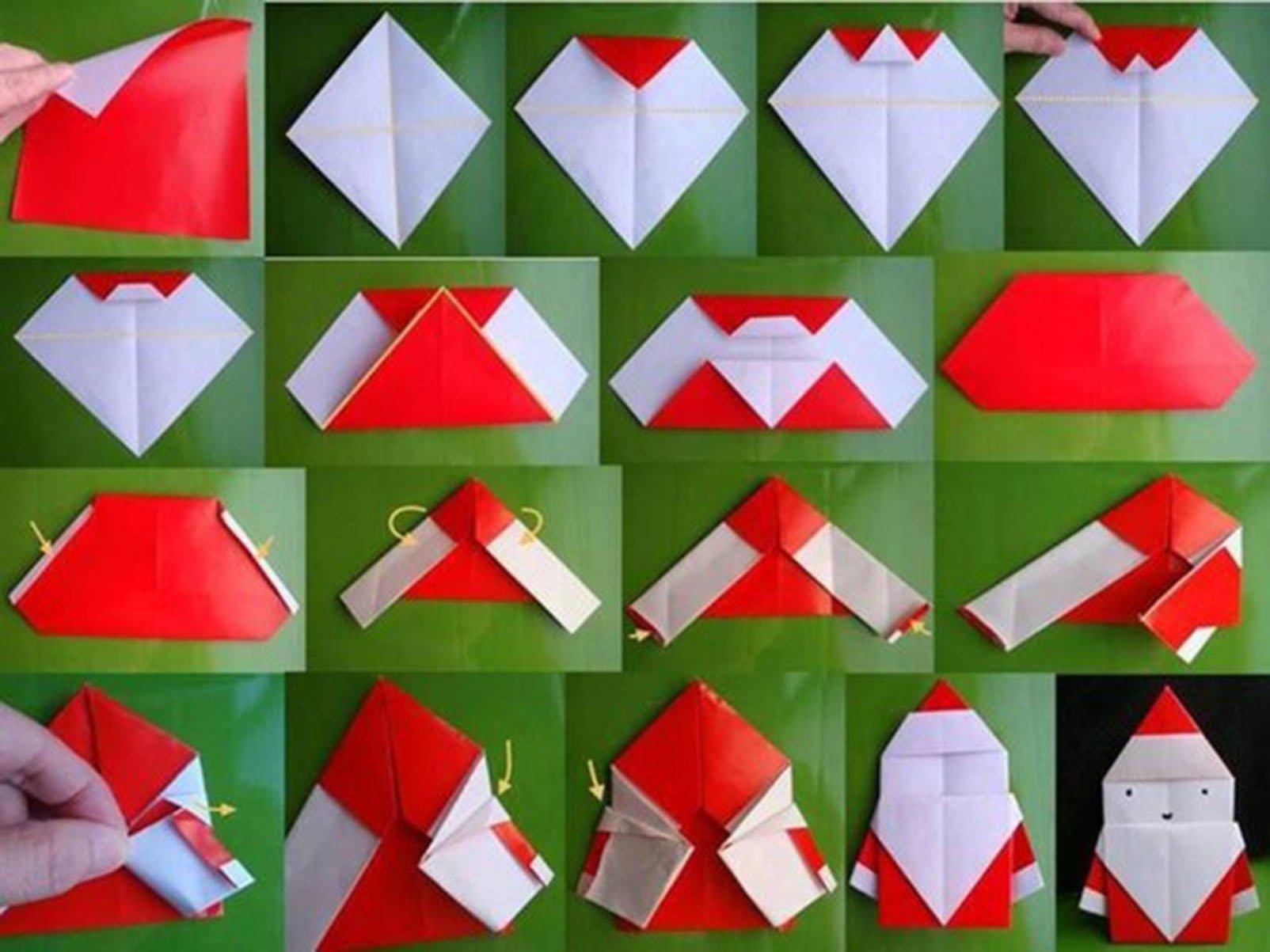 Подробное фоторуководство по выполнению поделки деда мороза в технике оригами