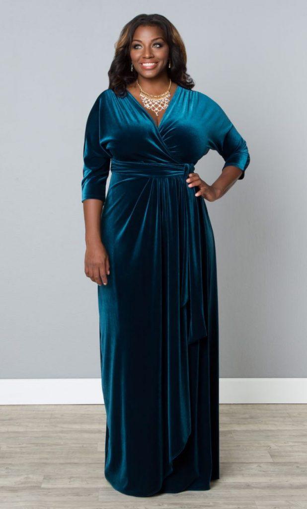 Бархатное платье на вечер, для полных дам