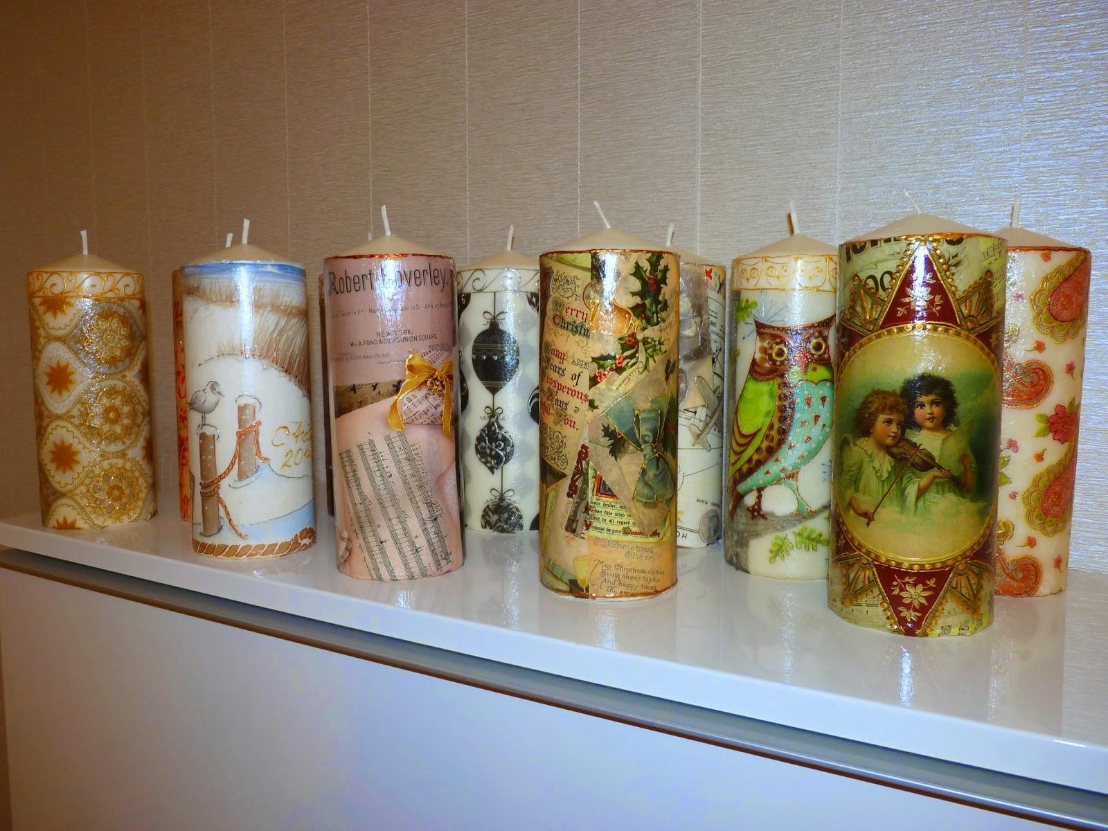 Обычные свечки декупаж превращает в настоящий новогодний подарок