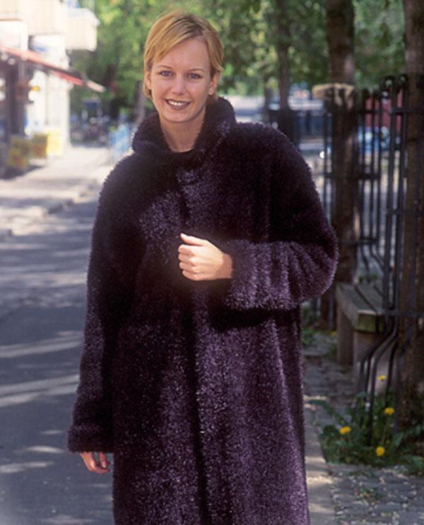 Вязаное пальто с имитацией меха