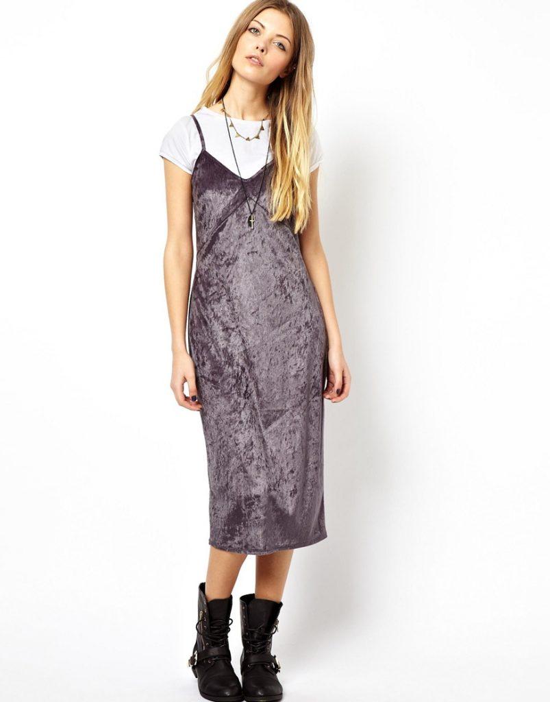 Модный образ в бархатном платье