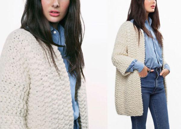 Вязаное пальто спицами из толстой пряжи: простые схемы с фото