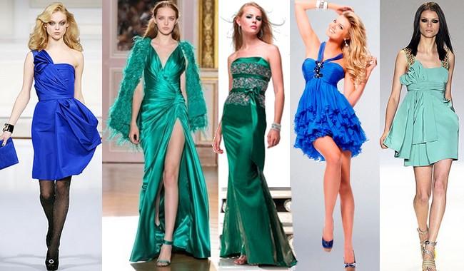 Яркие насыщенные цвета моделей вечерних платьев превращаются в их главное украшение