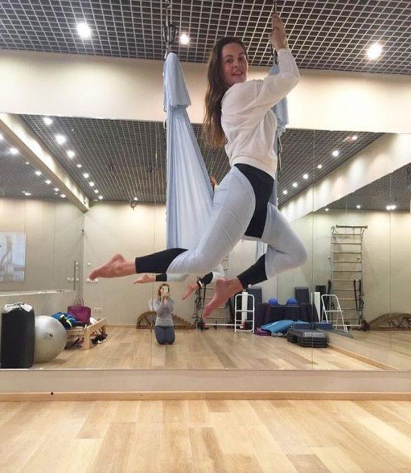 Екатерина Андреева на занятиях по гимнастике