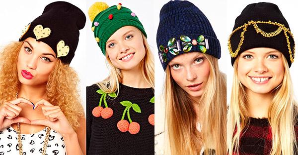 Вязаные шапки с декором