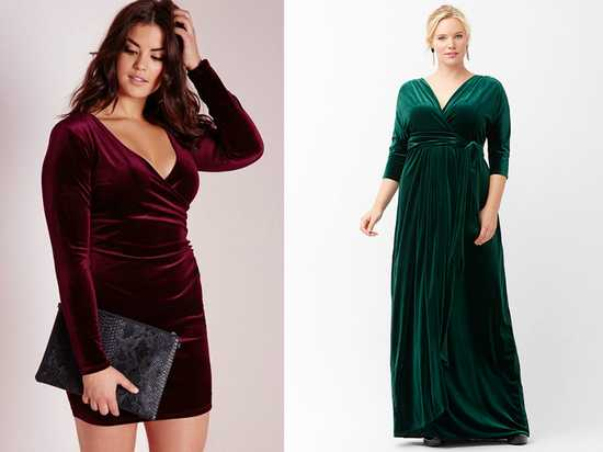 Бархатное платье для полных