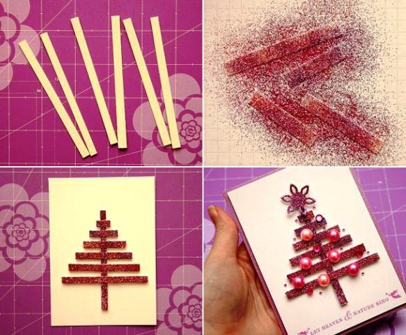 Украшение открытки на Новый год яркой яркой аппликацией