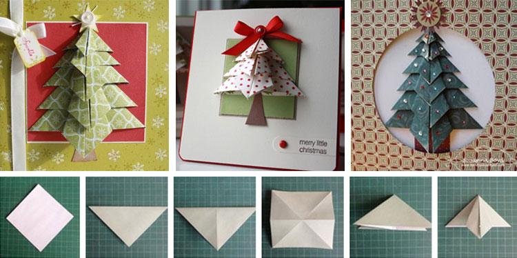 Открытка-оригами на 2018 год