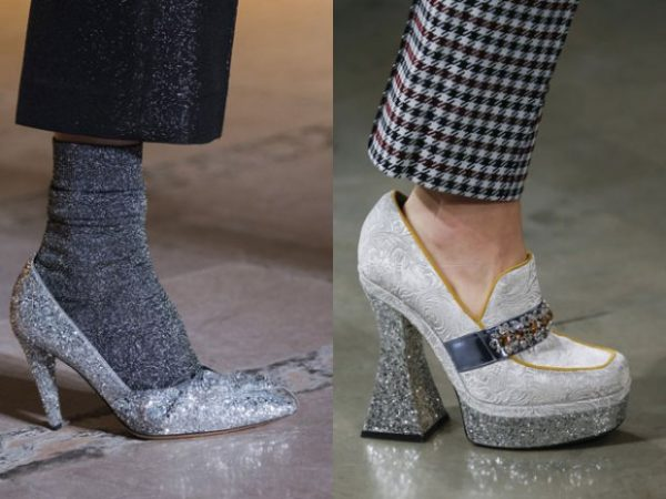 Блестящие женские туфли