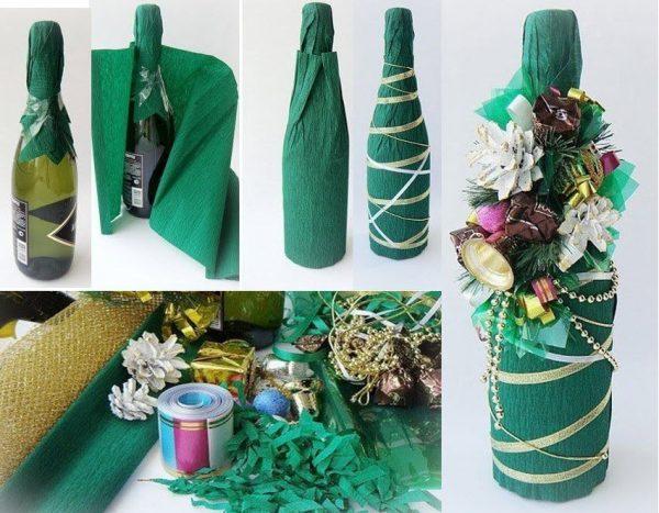 Как украсить бутылку шампанского гофрированной бумагой
