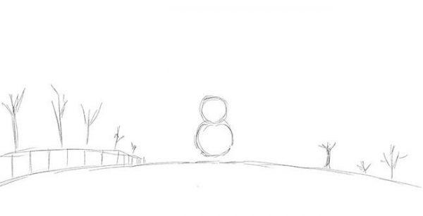 """Новогодний рисунок """"Зимний пейзаж"""" фото 2"""