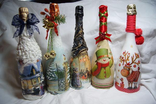 Как украсить бутылку шампанского на Новый год своими руками: фото, идеи