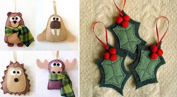 Новогодние елочные игрушки из фетра своими руками: фото