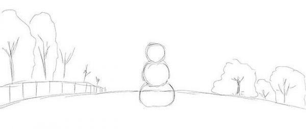 """Новогодний рисунок """"Зимний пейзаж"""" фото 3"""
