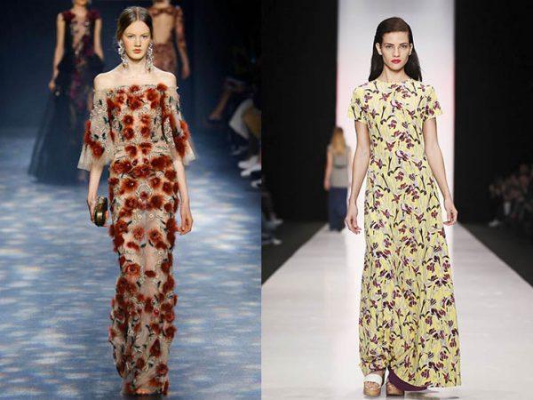 Женские платья в цветочных принтах