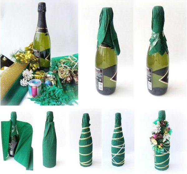 Как украсить бутылки шампанского на Новый год