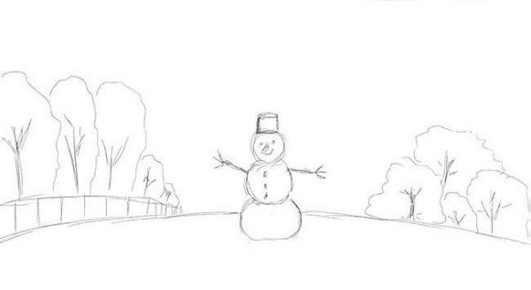 """Новогодний рисунок """"Зимний пейзаж"""" фото 4"""