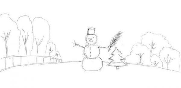 """Новогодний рисунок """"Зимний пейзаж"""" фото 6"""