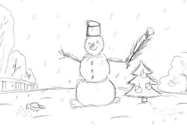 """Новогодний рисунок """"Зимний пейзаж"""""""