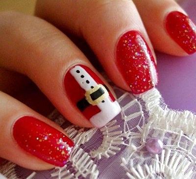 Сделать маникюр на коротких ногтях в виде наряда Деда Мороза - совсем просто
