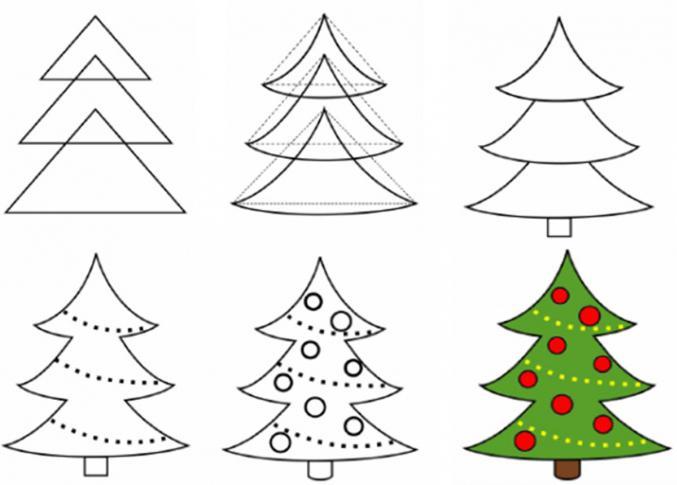 Как нарисовать елку поэтапно