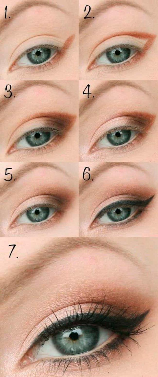 Поэтапное создание макияжа кошачий глаз